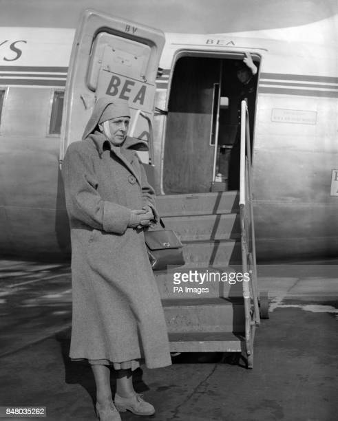 Princess Alice of Greece boarding a BEA plane at Northolt Airport for Rome. She is on her way home to Athens after a private visit.