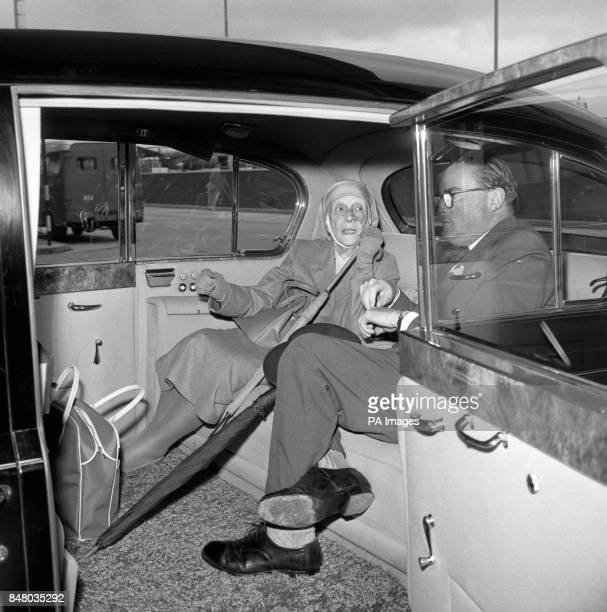Princess Alice of Greece, mother of the Duke of Edinburgh, leaving Heathrow Airport after arriving from Zurich for a private visit.