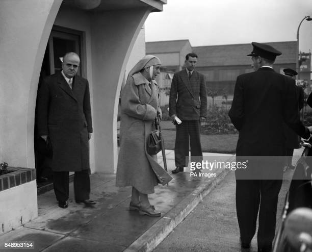 Princess Alice of Greece, mother of the Duke of Edinburgh, walks to her waiting plane at London Airport after her visit to Britain.