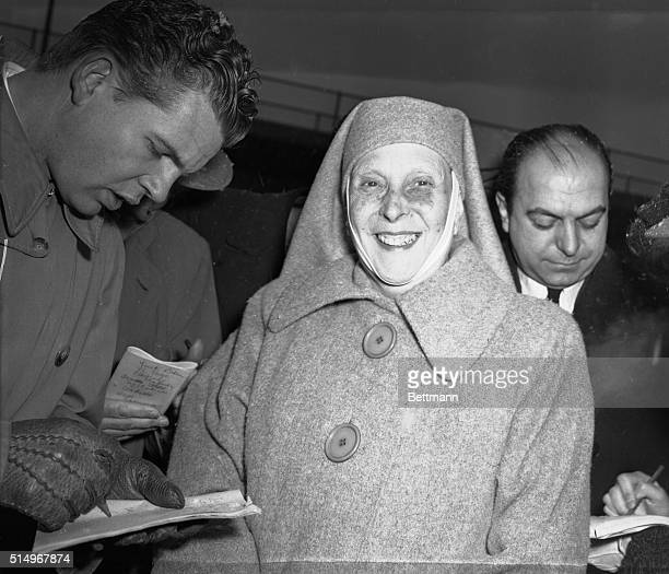 Princess Alice of Greece, mother-in-law of the new Queen of England, pictured as she arrived in Chicago from the East by plane today on a charity...