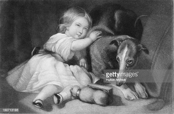 Princess Alice the third child of Queen Victoria and Prince Albert and future Grand Duchess of Hesse with Eos Prince Albert's greyhound 1844 An...