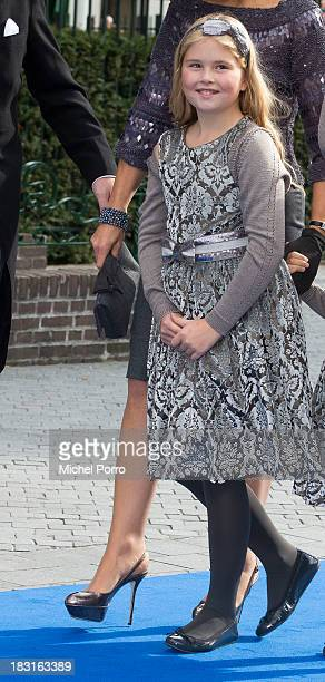 Princess Amalia of The Netherlands attends the wedding of Prince Jaime de Bourbon Parme and Viktoria Cservenyak at The Church Of Our Lady At...