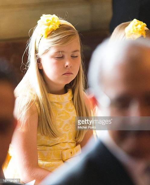 Princess Amalia of the Netherlands looks on during the Act of Abdication by her grandmother Queen Beatrix of the Netherlands in the Moseszaal at the...