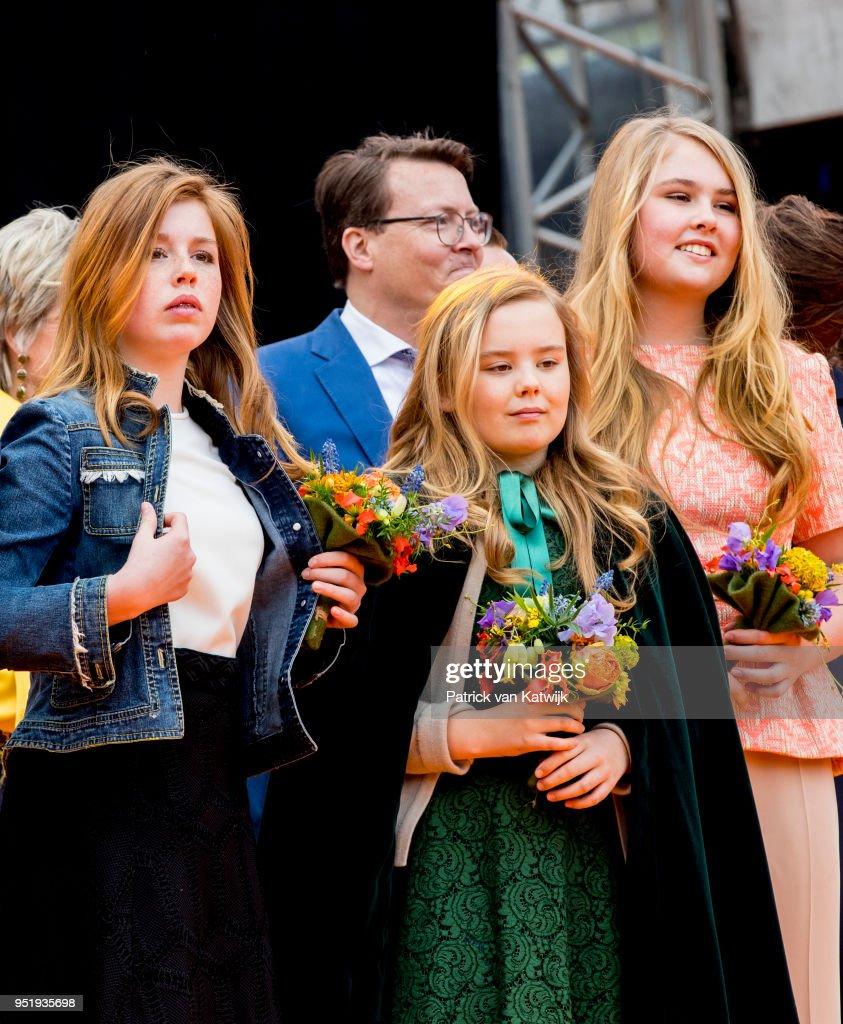 Princess Amalia of The Netherlands, Princess Alexia of The Netherlands and Princess Ariane of The Netherlands during the Kingsday celebration on April 27, 2018 in Groningen, Netherlands.