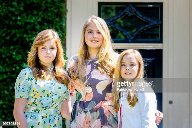 Princess Amalia of The Netherlands Princess Alexia of The Netherlands and Princess Ariane of The Netherlands on July 13 2018 in Wassenaar Netherlands