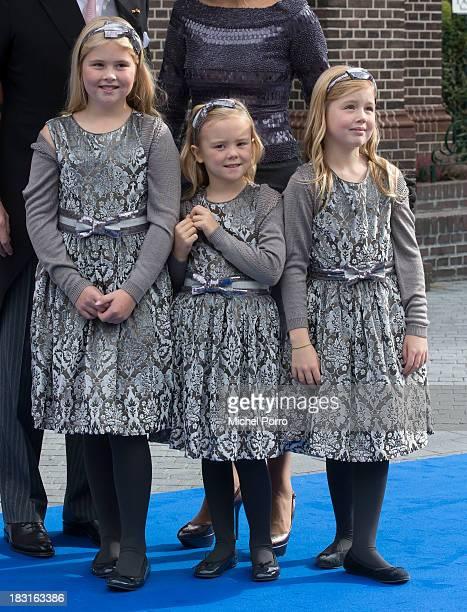 Princess Amalia of The Netherlands, Princess Ariane of The Netherlands and Princess Alexia of The Netherlands attend the wedding of Prince Jaime de...