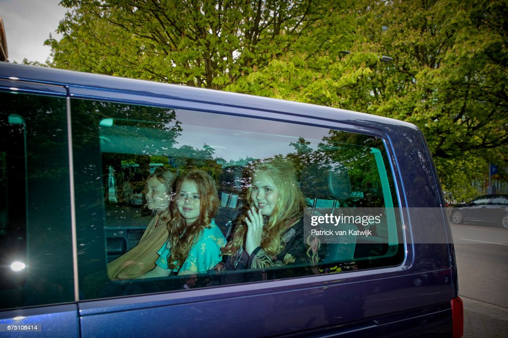 Princess Amalia, Princess Alexia and Princess Ariane of The Netherlands arrive at Royal Stables for an private birthday party for King Willem-Alexander in the Royal Stables on April 29, 2017 in The Hague, Netherlands.