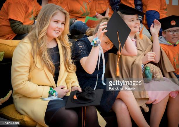 Princess Amalia Princess Alexia and Princess Ariane of The Netherlands attend the King's 50th birthday during the Kingsday celebrations on April 27...