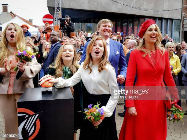 Princess Amalia Princess Alexia Princess Ariane Queen Maxima and King WillemAlexander of the Netherlands attend the King's Day celebrations in...