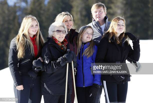 Princess Amalia Queen Maxima King WillemAlexander Princess Beatrix Princess Ariane and Princess Alexia of the Netherlands pose during the annual...