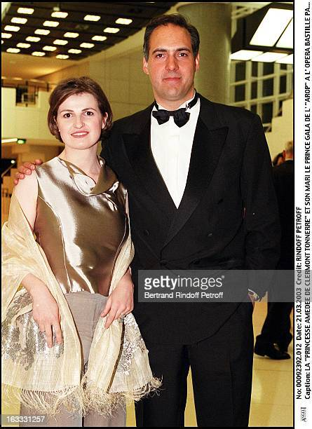 Princess Amedee De Clermont Tonnerre and her husband the Prince Arop gala at the Bastille opera in Paris