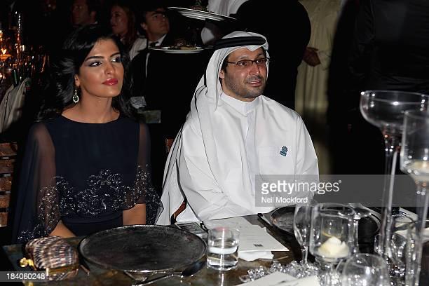 Princess Ameera alTaweel and Dubai Cares CEO Tariq al Gurg attend the gala dinner at the Armani Pavilion during Vogue Fashion Dubai Experience on...