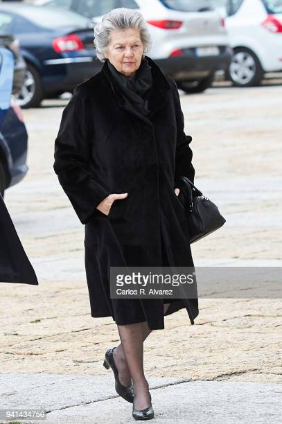 Princess Ana of Francia attends a Mass in occasion of the 25th anniversary of death of Conde de Barcelona father of King Juan Carlos at San Lorenzo...