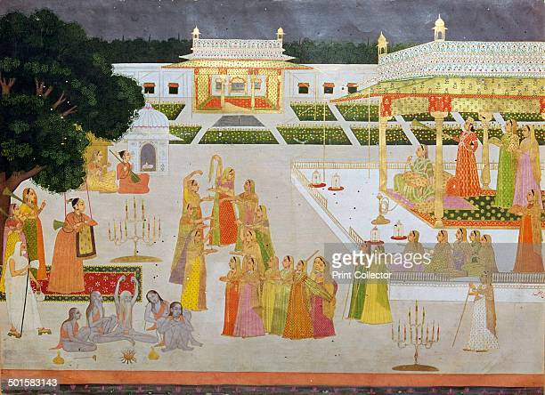 A princess and her ladies celebrating Diwali in a palace garden with yogis and yoginis from the Mughal school of painting from the VA's collection
