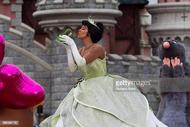 Princess and the Frog perform during a show in the front of the Cinderella Castle during the New Generation Year Launch at Disneyland Paris on March...