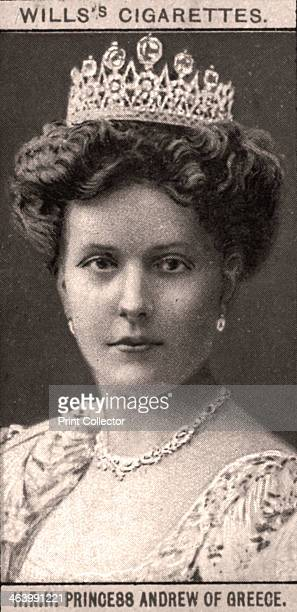 Princess Andrew of Greece, 1908. Portraits of European Royalty, Wills's Cigarette Cards, Bristol & London.