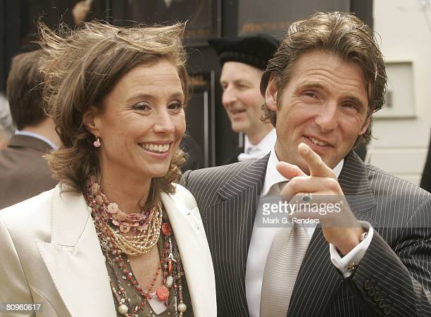 Princess Anette and Prince Pieter Christiaan from the Dutch Royal Family greet the crowd on Queensday April 30 2008 in Franeker The Netherlands