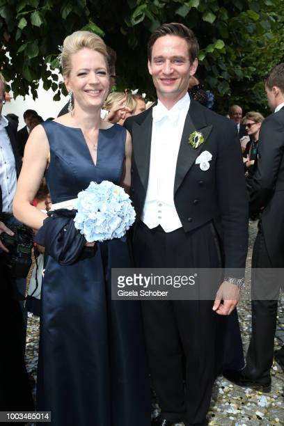 Princess Anna von Bayern and her brother Prince AugustFrederik zu SaynWittgensteinBerleburg sister and brother of the bride Theodora zu...