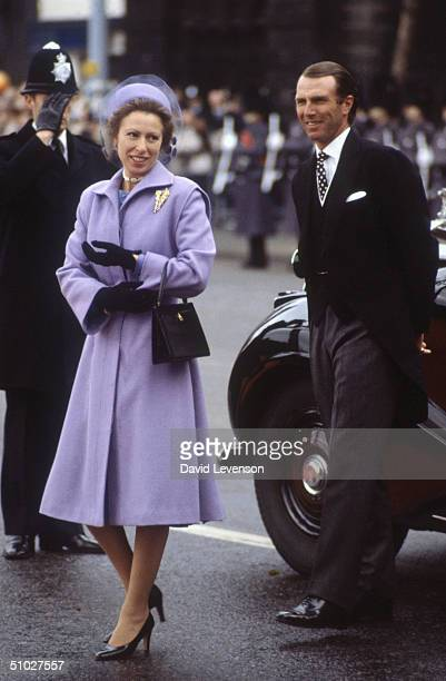 Princess Anne and Captain Mark Phillips arriving at Westminster Pier on November 16 1982 with other Royal's to welcome Queen Beatrix of the...