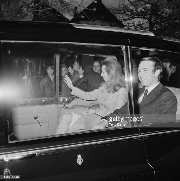 Princess Anne and her husband Captain Mark Phillips pictured in the rear seat of a royal limousine as they leave Thatched House Lodge in Richmond...
