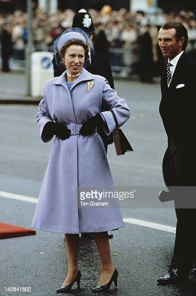 Princess Anne and her husband Mark Phillips arrive at Westminster Pier in London to welcome Queen Beatrix of the Netherlands for a State Visit 16th...