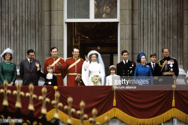 Princess Anne and her husband Mark Phillips together with the royal family on the balcony of Buckingham Palace in London short after their wedding on...