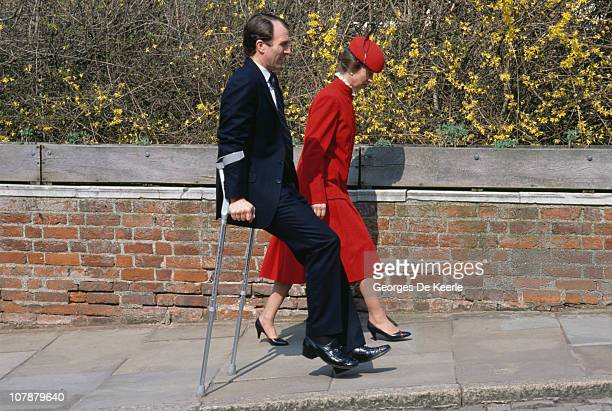 Princess Anne and her husband Mark Phillips UK 3rd April 1988 Phillips is walking on crutches