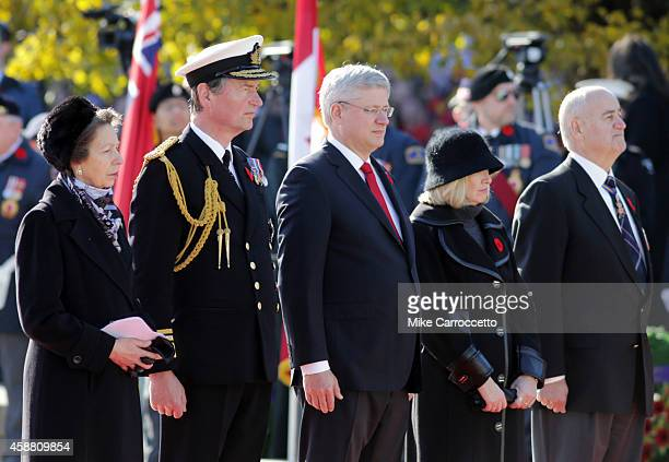 Princess Anne and her husband Sir Tim Laurence Canadian Prime Minister Stephen Harper his wife Laureen and Julian Fantino watch this morning's...