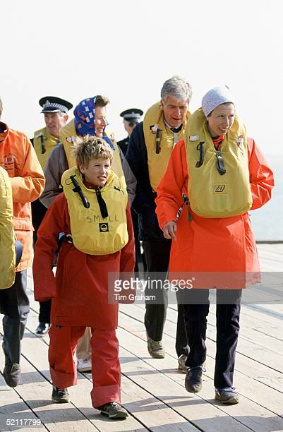 Princess Anne And Her Son Peter Phillips Visit The Outward Bound Centre In Wales They Are Both Wearing Protective Clothing And Lifejackets