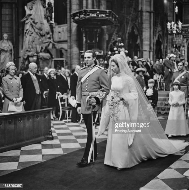 Princess Anne and Mark Phillips during their wedding at Westminster Abbey in London, UK, 14th November 1973.