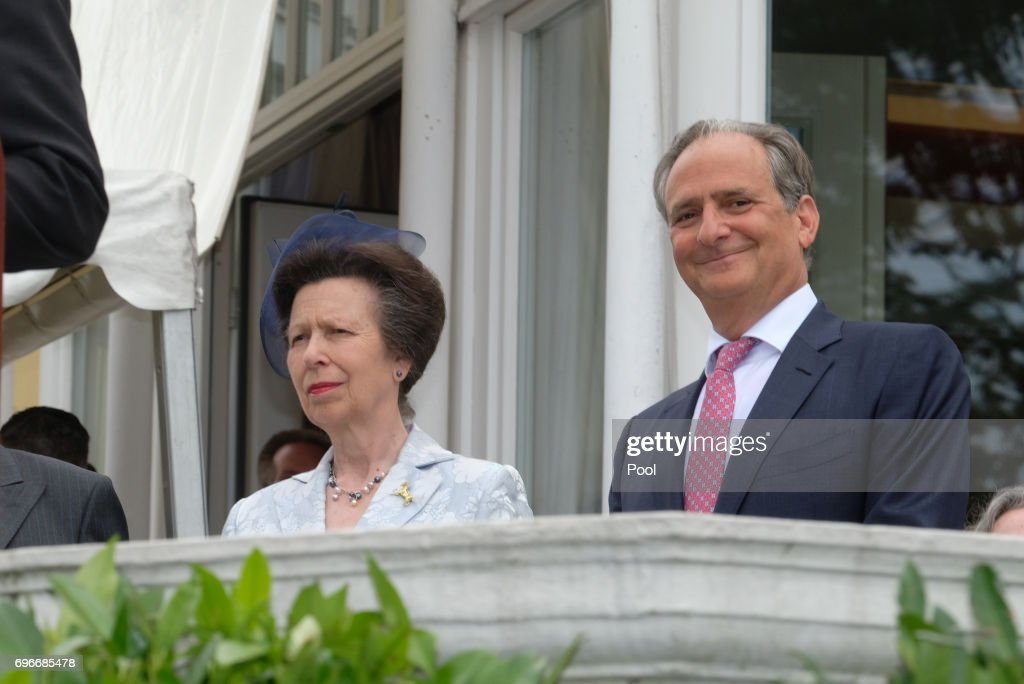 Princess Anne and Nicholas Teller (HK GB) attend a birthday party for Queen Elizabeth II June 15, 2017 in Hamburg, Germany.