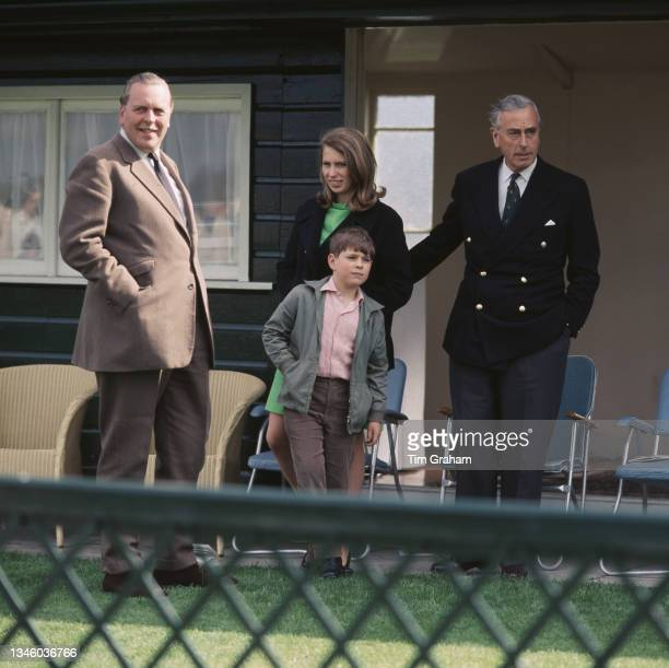 Princess Anne and Prince Andrew with Louis Mountbatten, 1st Earl Mountbatten of Burma during a polo match at Smith's Lawn in Windsor, UK, 28th April...
