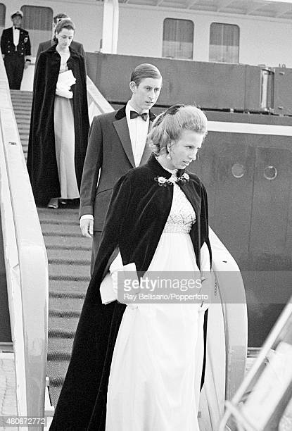 Princess Anne and Prince Charles disembark from HMY Britannia prior to a banquet at Hakonshall in Bergen during a Royal Visit to Norway on 7th August...