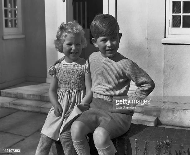 Princess Anne and Prince Charles on the patio of the Royal Lodge in Windsor England on April 07 1954