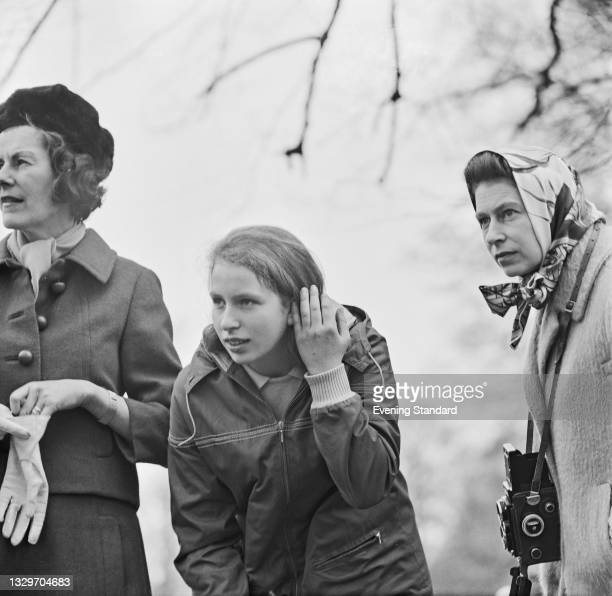 Princess Anne and Queen Elizabeth II at the Badminton Horse Trials in Gloucestershire, UK, 10th April 1965.