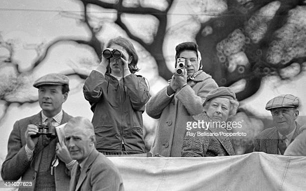 Princess Anne and Queen Elizabeth II watching the Badminton Horse Trials in Gloucestershire on 9th April 1965