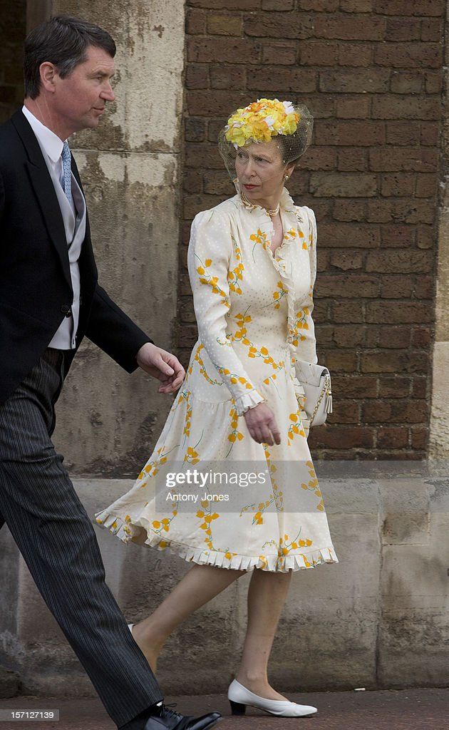 Princess Anne And Timothy Laurence Arrives At The Wedding Of Lady Rose Windsor, Youngest Daughter Of The Duke & Duchess Of Gloucester Who Marries George Gilman At The Queens Chapel, London..