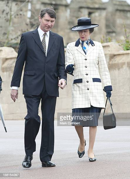 Princess Anne And Vice Admiral Timothy Laurence Arrive At Saint George'S Chapel In Windsor Castle After Attending The Easter Mattins Service.