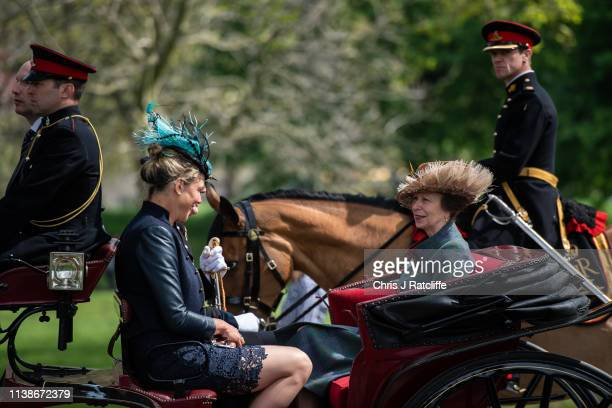 Princess Anne arrives to attend a 41 Royal gun salute to mark the 93rd birthday of Queen Elizabeth II at Hyde Park on April 22 2019 in London England...