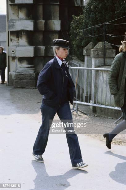 Princess Anne at Badminton Horse Trials on April 17 1982