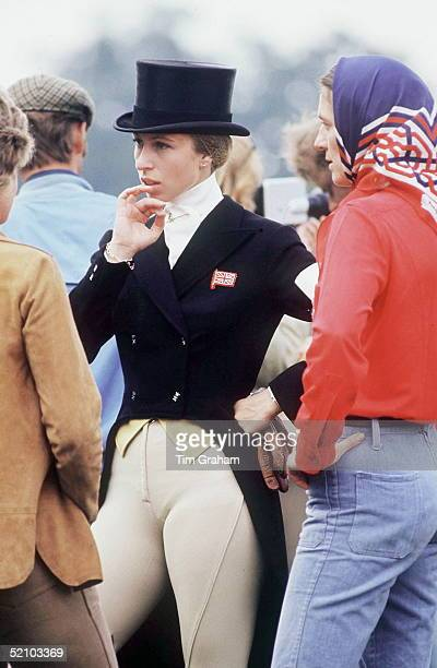 Princess Anne At Burghley Horse Trials. The Princess Is Dressed To Compete In The Dressage Section Of The Competition.