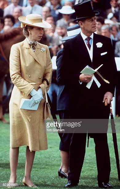 Princess Anne At Epsom Derby Races With Her Father Prince Philip.