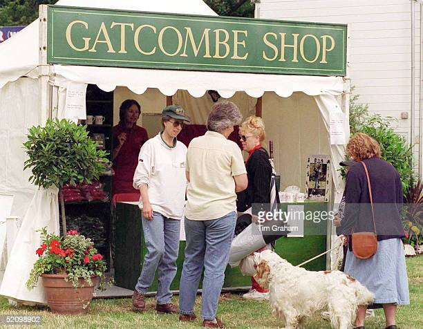 Princess Anne At Gatcombe Horse Trials At Gatcombe Park The Princess Is Standing By A Tented Trade Stand Called gatcombe Shop