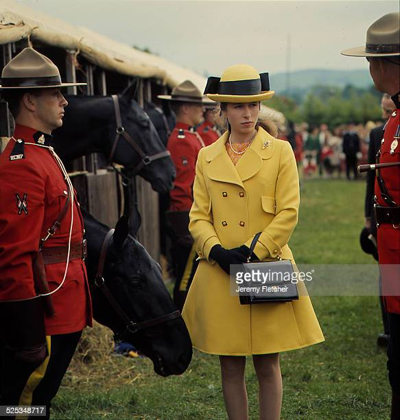 Princess Anne at Horse Trials with members of the Royal Canadian Mounted Police UK 1968