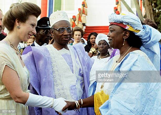 Princess Anne At The Independence Day Celebrations In Banjul Gambia at Centre Background Is The Princess's Lady In Waiting Shan Legge Bourke