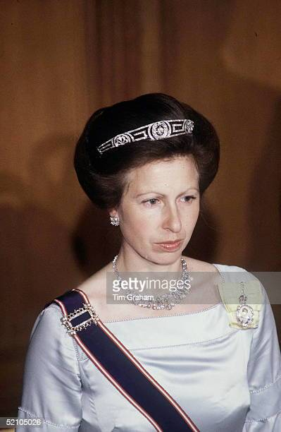 Princess Anne Attending A Guildhall Banquet. The Princess Is Wearing A Tiara And The Royal Family Order Of Q. Elizabeth II Pinned On A Yellow Ribbon.