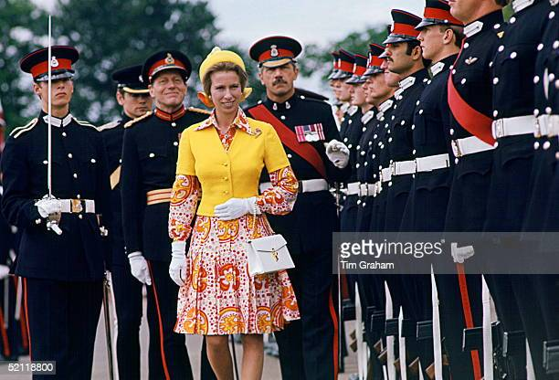 Princess Anne Attending A Passing Out Parade At Sandhurst Military Academy She Is Wearing A Dress She Was To Wear Again Eleven Years Later With An...