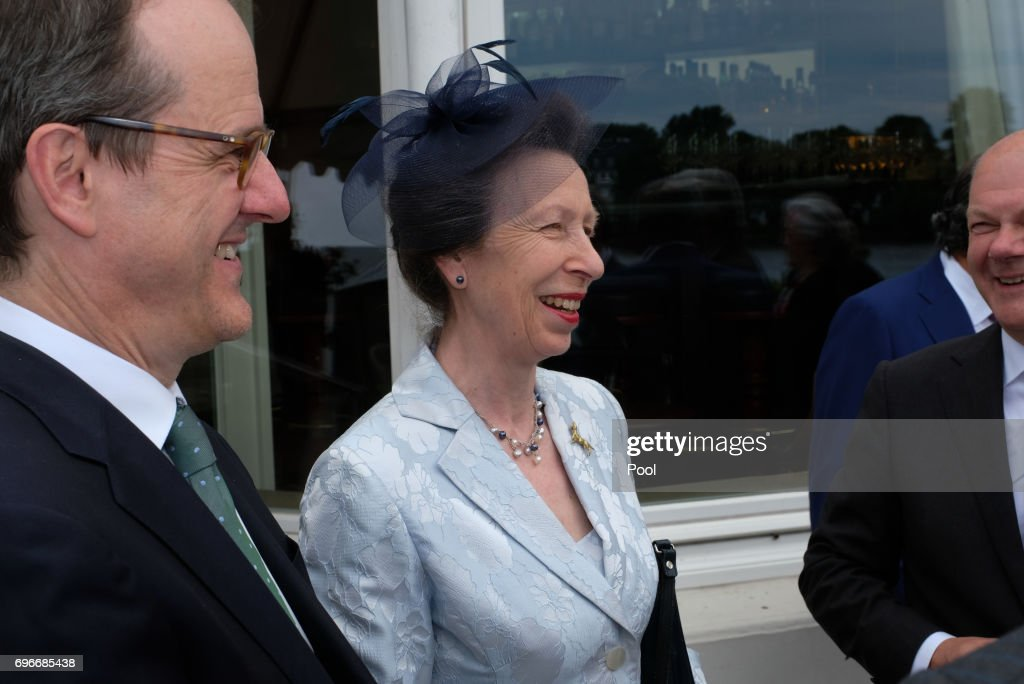 Princess Anne attends a birthday party for Queen Elizabeth II June 15, 2017 in Hamburg, Germany.