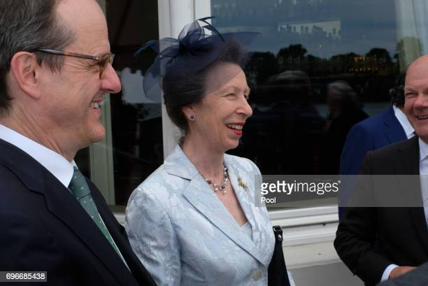 Princess Anne attends a birthday party for Queen Elizabeth II June 15 2017 in Hamburg Germany