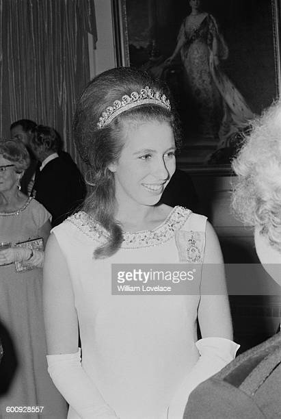 Princess Anne attends a formal event during a visit to New Zealand, 16th March 1970.